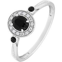 Love GEM 9ct White Gold Black Sapphire and Diamond Set Ring, One Colour, Size R, Women