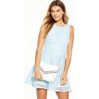 AX Paris Mesh Fit And Flare Dress, Blue, Size 12, Women