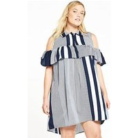 AX PARIS CURVE CURVE Cold Shoulder Ruffle Front Dress, Stripe, Size 20, Women