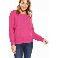 V by Very Batwing Tie Up Jumper, Rose Pink, Size 14, Women