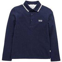 Boys, BOSS Print Logo Short Sleeve Polo, Navy, Size 14 Years