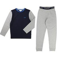 BOSS Boys Colourblock Pyjamas, Grey Marl, Size Age: 14 Years