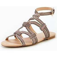 V by Very Trina Caged Flat Sandal - Pink Shimmer, Pink, Size 5, Women