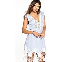 V by Very Crochet Lace Stripe Dress, Stripe, Size 8, Women