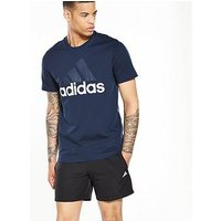 adidas Essential Linear T-Shirt, Navy, Size S, Men