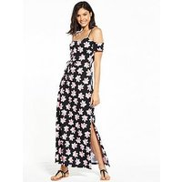 V by Very Cold Shoulder Jersey Beach Maxi Dress, Floral, Size 18, Women