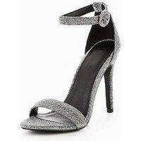 V by Very Bella Ankle Strap Minimal Heeled Sandal , Silver Lurex, Size 8, Women