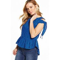 V by Very Petite Tie Sleeve Broderie Blouse, Blue, Size 16, Women