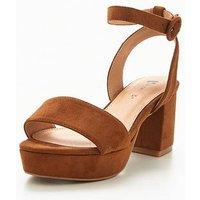 V by Very Trixie Wide Fit Platform Low Block Heeled Sandal - Tan, Tan, Size 6, Women