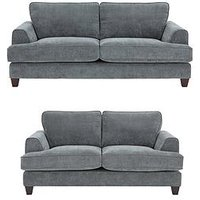 Product photograph showing Ideal Home Camden 3 Seater 2 Seater Fabric Sofa Set Buy And Save