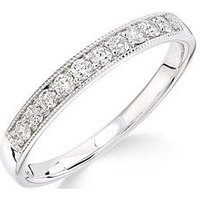 Love DIAMOND 9ct white gold 25 point millgrain set eternity ring, One Colour, Size J, Women