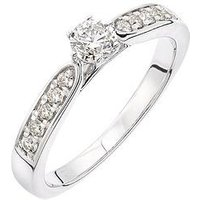 Love DIAMOND 9ct white gold 50 point total diamond solitaire ring with diamond millgrain set shoulders, One Colour, Size I, Wome