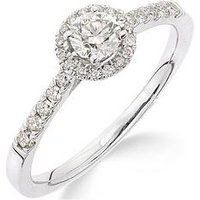 Love DIAMOND Love DIAMOND 9ct Gold 50 Points Total Diamond Halo Ring, One Colour, Size L, Women