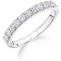 Love DIAMOND 9ct white gold 50 point micro setting eternity ring, One Colour, Size N, Women