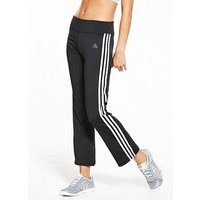 adidas 3 Stripe Brushed Pants - Black, Black, Size S, Women