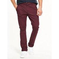 V by Very Slim Stretch Chinos, Wine, Size 32, Inside Leg Regular, Men