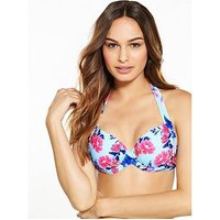 V by Very Underwired Floral Print Bikini Top, Floral, Size 32D, Women