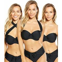 V by Very Controlwear Multi-way Underwired Bikini Top , Black, Size 36D, Women