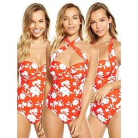 V by Very Controlwear Multi-way Underwired Swimsuit, Floral, Size 34F, Women