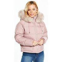 V by Very Petite Faux Fur Trim Padded Coat - Dusty Pink, Dusky Pink, Size 14, Women