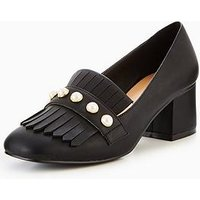 V by Very Natalie Pearl Detail Heeled Loafer - Black, Black, Size 6, Women