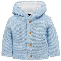 Mini V by Very Baby Boys Hooded Knitted Cardigan - Blue, Blue, Size Age(Months): 12-18 Months