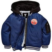 Mini V by Very Boys Hooded Navy Bomber Jacket, Navy, Size Age: 3-6 Months
