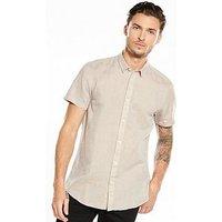 Selected Homme Short Sleeve Shirt, Stucco, Size M, Men