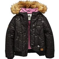 Animal Girls Faux Fur Hooded Padded Coat, Black, Size Age: 15-16 Years, Women