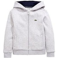 Boys, Lacoste Zip Through Hoodie, Grey Marl, Size 4 Years