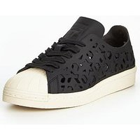adidas Originals Superstar 80's Cutout - Black , Black, Size 5, Women