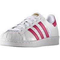 adidas Originals Adidas Originals Superstar Junior Trainer, White/Pink, Size 5