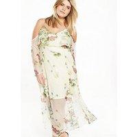 RI Plus Frill Maxi Dress, Floral, Size 18, Women