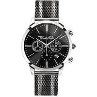 Thomas Sabo Rebel Spirit Chrono Men's Watch, Black Dial, 42mm 2, Tone Mesh Bracelet, One Colour, Men