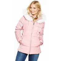 V by Very Short Faux Fur Trim Padded Coat , Pink, Size 10, Women