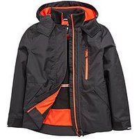 Boys, V by Very Double Tech Zip Jacket with Fleece Lining, Black, Size Age: 16 Years