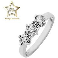 Starlight 9ct Gold 1ct look 10 Point Illusion Set Trilogy Ring, White Gold, Size J, Women