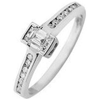 Love DIAMOND Love DIAMOND 9ct Gold 50 Point Emerald Cut Ring, White Gold, Size T, Women