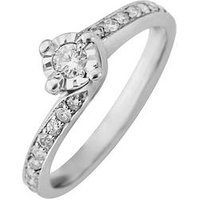 Starlight 9ct Gold 1/2ct look 30 Points Diamond Twist Illusion-Set Ring, White Gold, Size H, Women