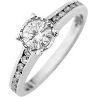 Starlight 9ct Gold 1ct look 50 Point Illusion Set Diamond Ring With Stone Set Shoulders, Yellow Gold, Size S, Women