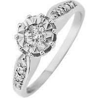Starlight 9ct Gold 1ct look 25 Point Illusion Set Diamond Ring With Stone Set Shoulders, White Gold, Size O, Women