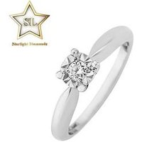 Starlight 9ct Gold 1/2ct Look 10 Point Diamond Illusion-Set Solitaire Ring, White Gold, Size M, Women
