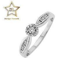 Starlight 9ct Gold 1/2ct look 6 Point Illusion Set Ring, White Gold, Size N, Women