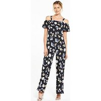V by Very Deep Frill Bardot Jumpsuit , Floral Print, Size 8, Women