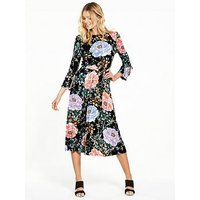 V by Very Tie Sleeve Floral Bloom Midi Dress, Bloom Print, Size 10, Women