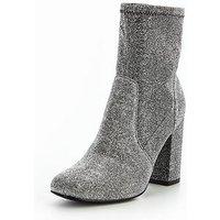 V by Very Rebel Shimmer Velvet Block Heel Ankle Boot -black Shimmer, Silver Lurex, Size 6, Women