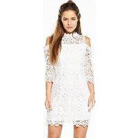V by Very Petite Cold Shoulder Lace Dress, Ivory, Size 8, Women
