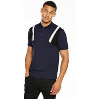 V by Very Mens Colour Block Sleeve Polo, Navy, Size Xs, Men