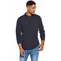 V by Very Long Sleeve Pique Polo, Navy, Size Xs, Men