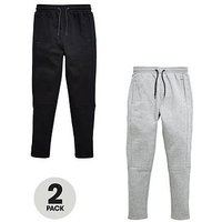 V by Very Boys Panel Jogging Bottoms- Black/Charcoal (2 Pack), Black/Charcoal, Size Age: 10 Years